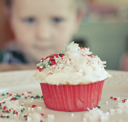 decorated Christmas cupcake
