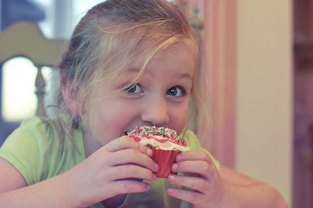 girl anticipating cupcake