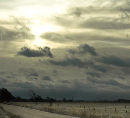 cloudy sky dark road