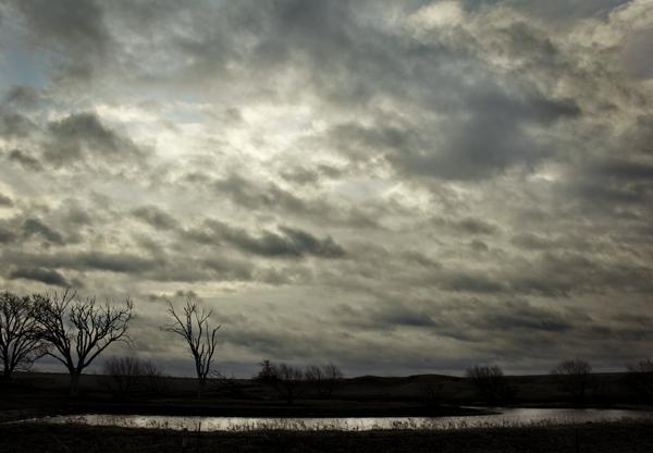 cloudy sky pond