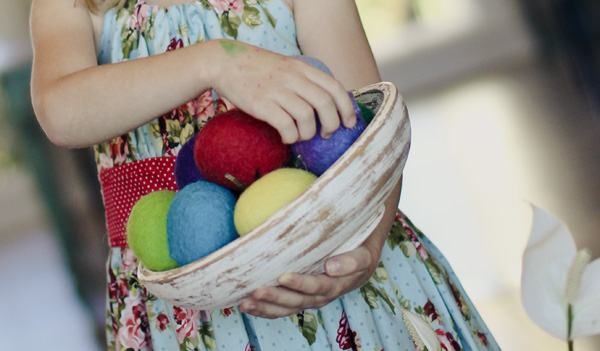 Easter eggs holding bowl