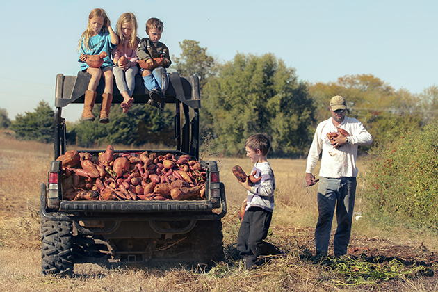 potatoes 3 kids on gator roof