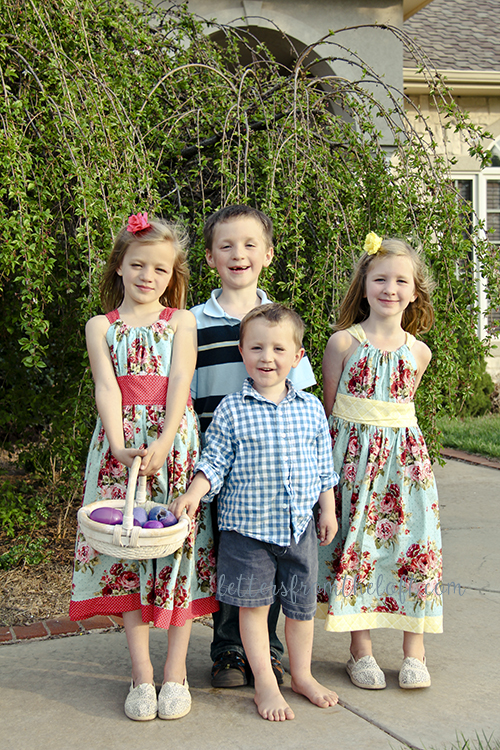 kids easter by weeping cherry